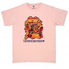 Mens Short Sleeve Pink Crew Neck Regular Fit T-Shirt with Matsuri Carnival Print