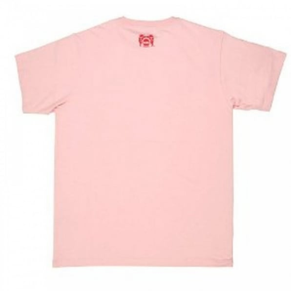 RMC JEANS Mens Short Sleeve Pink Crew Neck Regular Fit T-Shirt with Matsuri Carnival Print