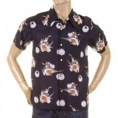 Mens Short Sleeve Regular Fit Shirt with Human Head Bird Body Print