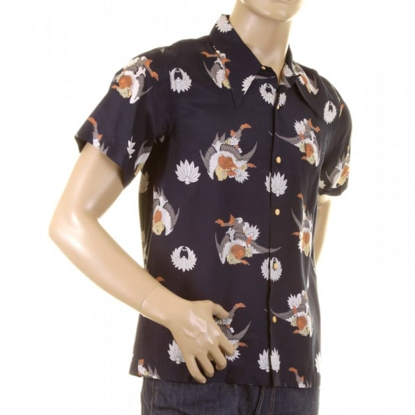 RMC JEANS Mens Short Sleeve Regular Fit Shirt with Human Head Bird Body Print