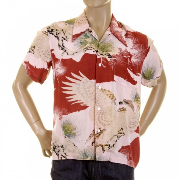 RMC JEANS Mens Short Sleeve Regular Fit Shirt with Pink Eagle in Leaf Print