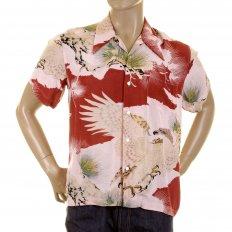 Mens Short Sleeve Regular Fit Shirt with Pink Eagle in Leaf Print