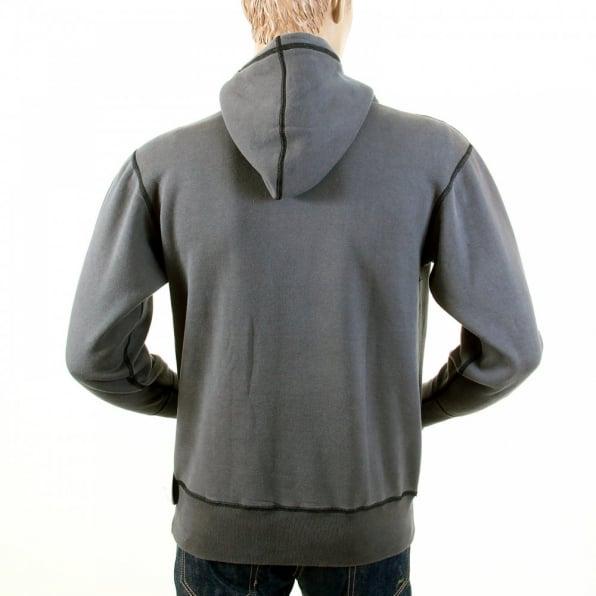 RMC JEANS Mens Slate Grey Over Head Large Fitting Hoody Sweatshirt