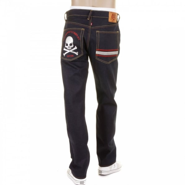 RMC JEANS Mens Slim Cut Dark Indigo Raw Denim Jeans with Silver Skull and Crossbones