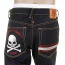 RMC JEANS Mens Slim Cut Dark Indigo Raw Denim Jeans with Silver Skull and Crossbones