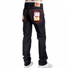 Mens Slim Cut Japanese Indigo Selvedge Raw Denim Jeans with Lucky Cat Embroidery