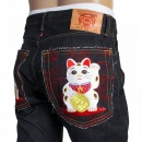 RMC JEANS Mens Slim Cut Japanese Indigo Selvedge Raw Denim Jeans with Lucky Cat Embroidery