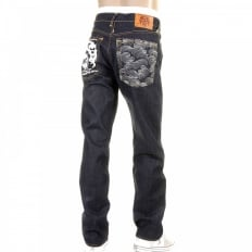 Mens Slim Fit Dark Indigo Raw Denim Jeans
