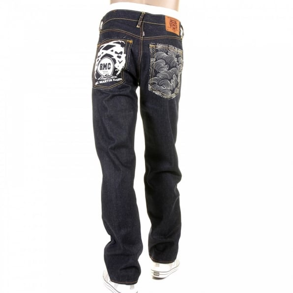 RMC JEANS Mens Slim Fit Dark Indigo Raw Denim Jeans