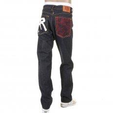 Mens Slim Fit Dark Indigo Raw Denim Jeans