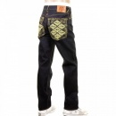 RMC JEANS Mens Slim Fit Dark Indigo Raw Jeans with Selvedge Denim