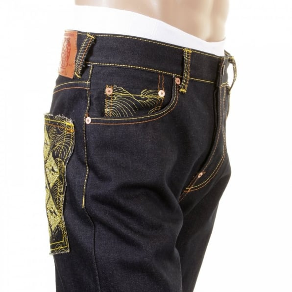 RMC JEANS Mens Slim Fit Dark Indigo Raw Jeans with Selvedge Denim