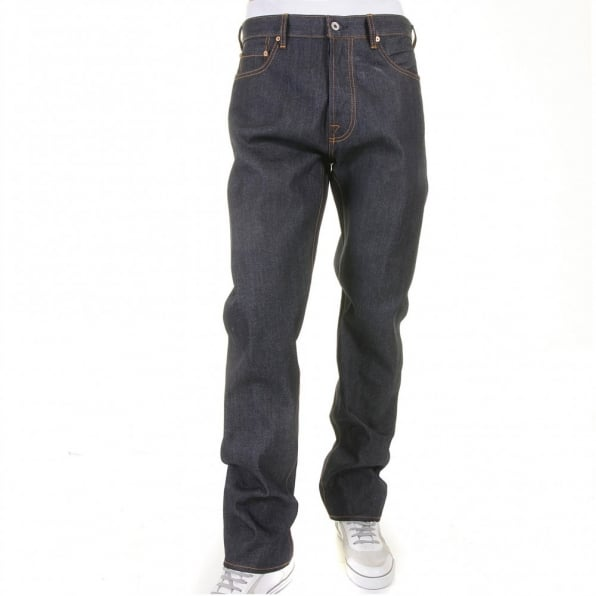 RMC JEANS Mens Slim Fit Dark Indigo Selvedge Raw Denim Jeans