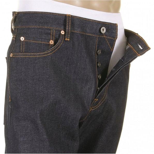 RMC JEANS Mens Slim Fit Dark Indigo Selvedge Raw Denim Jeans