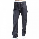 RMC JEANS Mens Slim Fit Japanese Indigo Selvedge Raw Denim Jeans with Multicolour Embroidered Carp