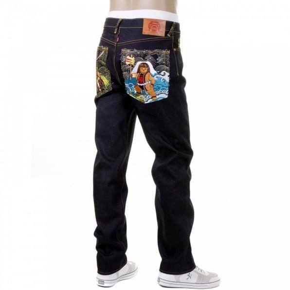 RMC JEANS Mens Slim Fit Selvedge Dark Indigo Raw Denim Jeans