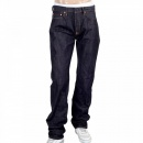 RMC JEANS Mens Slimmer Cut Indigo Raw Selvedge Japanese Denim Jeans with Silver Bushi Embroidery