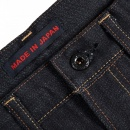 RMC JEANS Mens Slimmer Cut Japanese Indigo Raw Selvedge Denim Jeans with No Music No Life Embroidery