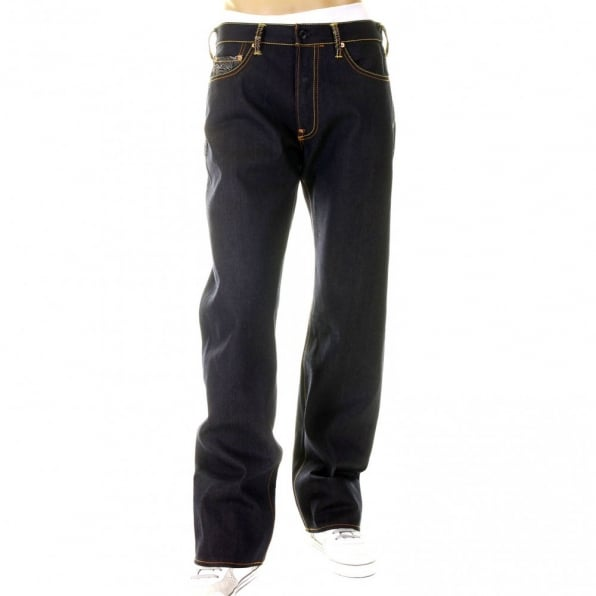 RMC JEANS Mens Super Exclusive Design Dark Indigo Raw Denim Jeans