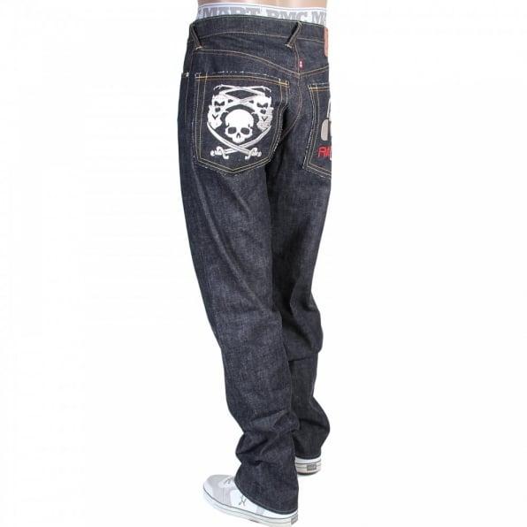 RMC JEANS Mens Super Exclusive Design Indigo Raw Denim Cotton Jean