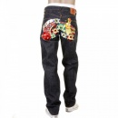 RMC JEANS Mens Super Exclusive Design Indigo Raw Denim Jeans with Slim Fit