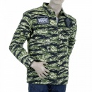 RMC JEANS Mens Tiger Camo Green Zip Up Regular Fit Field Jacket