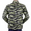 RMC JEANS Mens Tiger Camo Green Zip Up Regular Fit Field Jacket