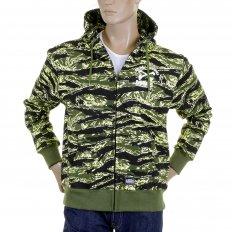 Mens Tiger Camo Green Zip up Regular Fit Hooded Jacket