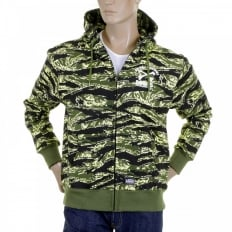 Mens Tiger Camo Green Zip up Regular Fit Hooded Jacket