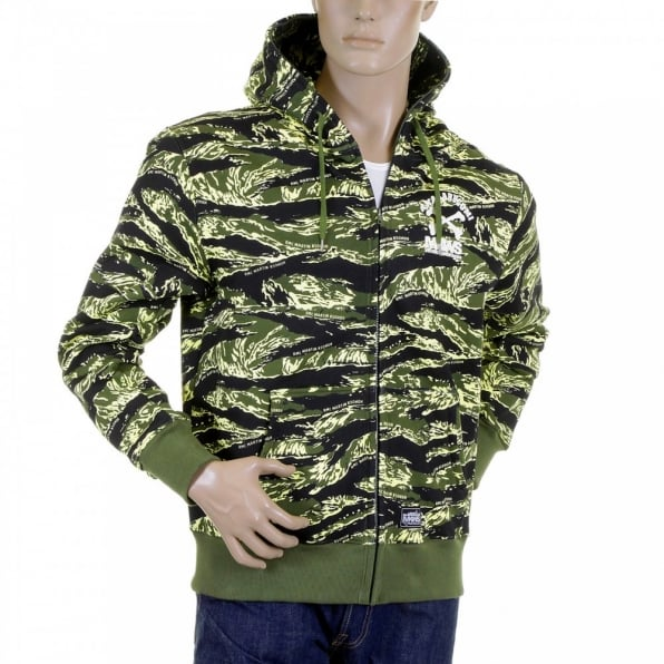 RMC JEANS Mens Tiger Camo Green Zip up Regular Fit Hooded Jacket