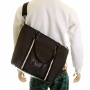 RMC JEANS Mens Unisex Black Nylon Leather Shopper Bag