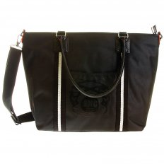 Mens Unisex Black Nylon Leather Shopper Bag