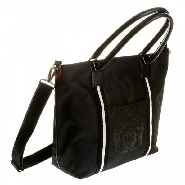 RMC JEANS Mens Unisex Black Nylon Leather Shopper Bag