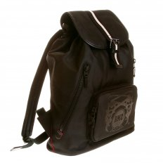 Mens/Unisex Black Nylon with Leather Backpack