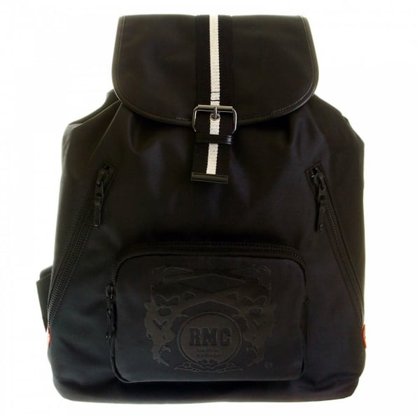 RMC JEANS Mens/Unisex Black Nylon with Leather Backpack