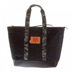 Mens/Unisex denim leather shopper bag