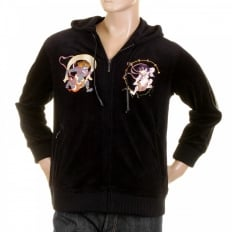 Mens Velvet Black Hooded Zip up Regular Fit Jacket with Fuiji and Raiji Embroidery