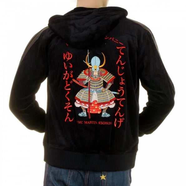 RMC JEANS Mens Velvet Black Hooded Zip up Regular Fit Jacket with Fuiji and Raiji Embroidery