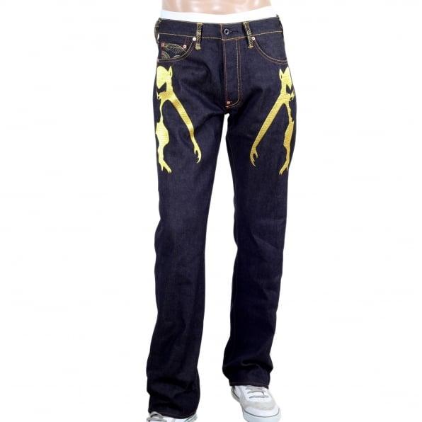 RMC JEANS Mens Vintage cut dark indigo selvedge raw denim jeans