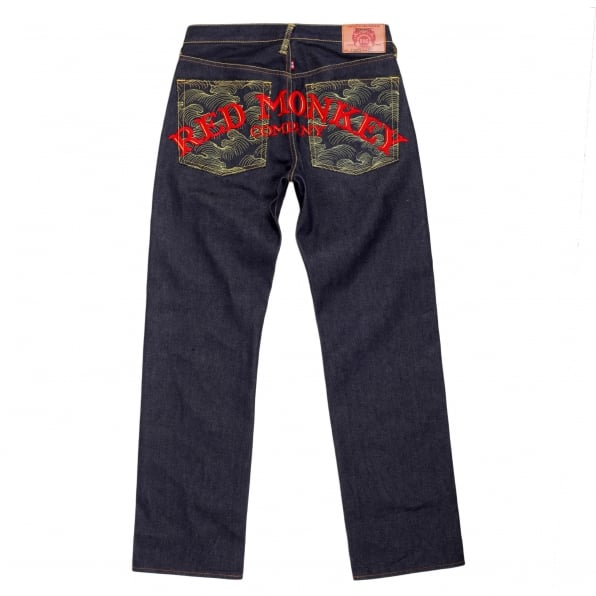 RMC JEANS Mens Vintage cut dark indigo selvedge raw denim jeans