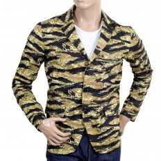 Mens Vintage Tiger Tea Camo Printed Cotton Blazer Jacket