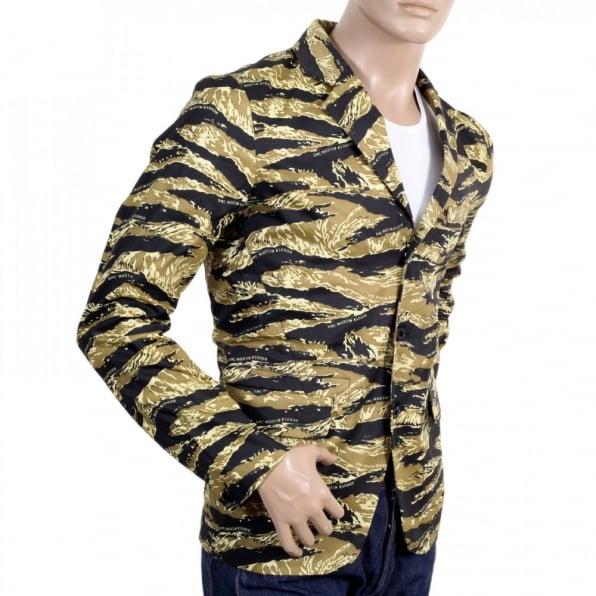 RMC JEANS Mens Vintage Tiger Tea Camo Printed Cotton Blazer Jacket