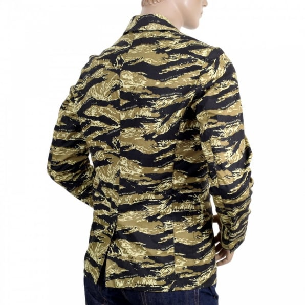 RMC JEANS Mens Vintage Tiger Tea Camo Printed Cotton Blazer Jacket