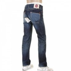 Mens Washed Indigo Selvedge Denim Jeans with Vintage Finish