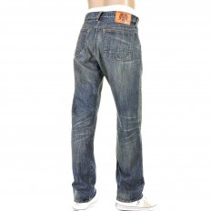 Mens Washed Vintage Selvedge Light Wash Indigo Denim Jeans