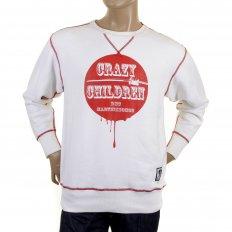 Mens White Crew Neck Large Fitting Sweatshirt