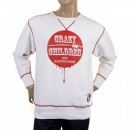 RMC JEANS Mens White Crew Neck Large Fitting Sweatshirt