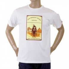 Mens White Crew Neck Regular Fit Short Sleeve T-shirt with Camel Cigarette Packet Style Print