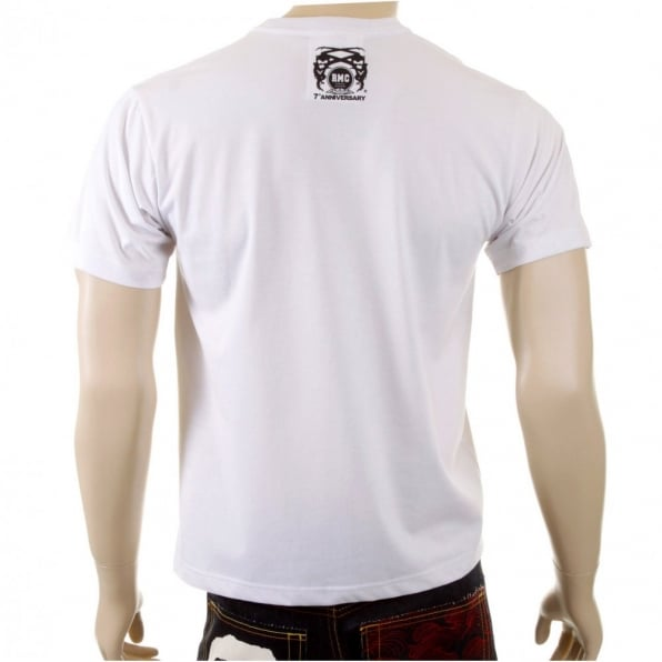 RMC JEANS Mens White Crew Neck Regular Fit T-shirt with Short Sleeve