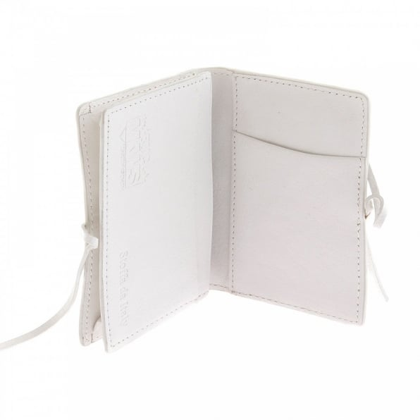 RMC JEANS Mens White Grain Leather Card Holder Wallet